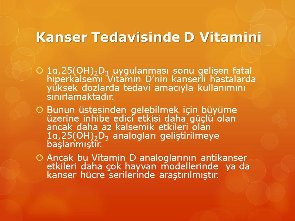 Kanser Tedavisinde D Vitamini  1α,25(OH) 2 D 3 uygulanması sonu gelişen fatal hiperkalsemi Vitamin D'nin kanserli hastalarda yüksek dozlarda tedavi amacıyla kullanımını sınırlamaktadır.