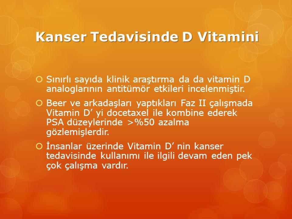 Kanser Tedavisinde D Vitamini  Sınırlı sayıda klinik araştırma da da vitamin D analoglarının antitümör etkileri incelenmiştir.
