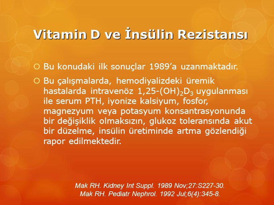 Vitamin D ve İnsülin Rezistansı  Bu konudaki ilk sonuçlar 1989'a uzanmaktadır.