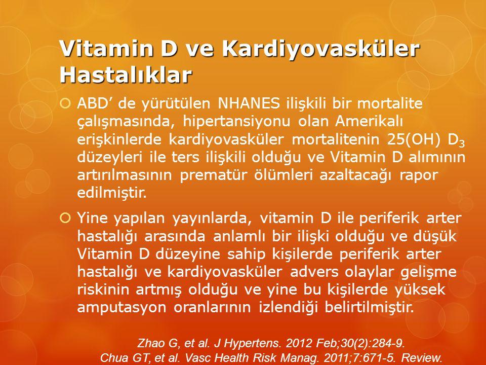 Vitamin D ve Kardiyovasküler Hastalıklar  ABD' de yürütülen NHANES ilişkili bir mortalite çalışmasında, hipertansiyonu olan Amerikalı erişkinlerde kardiyovasküler mortalitenin 25(OH) D 3 düzeyleri ile ters ilişkili olduğu ve Vitamin D alımının artırılmasının prematür ölümleri azaltacağı rapor edilmiştir.