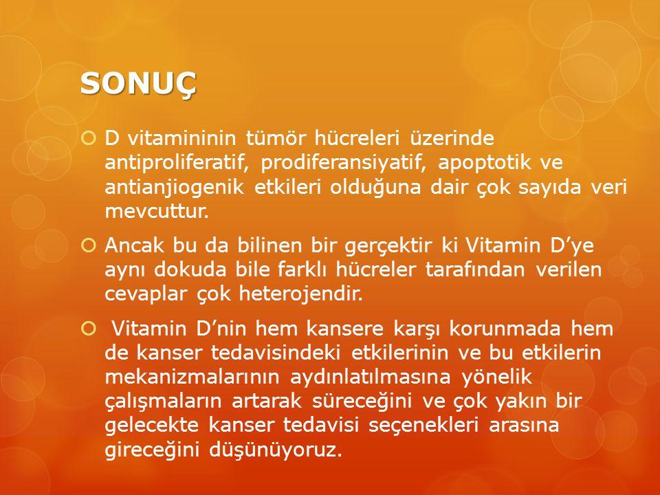 SONUÇ  D vitamininin tümör hücreleri üzerinde antiproliferatif, prodiferansiyatif, apoptotik ve antianjiogenik etkileri olduğuna dair çok sayıda veri mevcuttur.