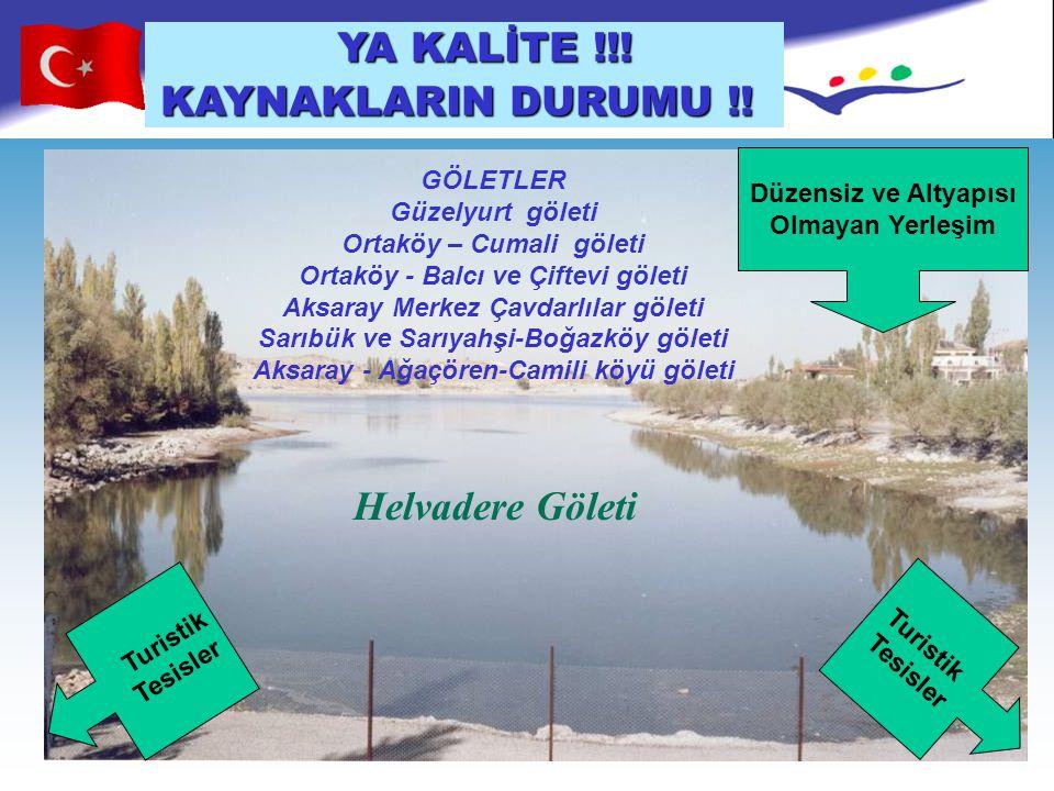 Helvadere Göleti Düzensiz ve Altyapısı Olmayan Yerleşim Turistik Tesisler Turistik Tesisler GÖLETLER Güzelyurt göleti Ortaköy – Cumali göleti Ortaköy