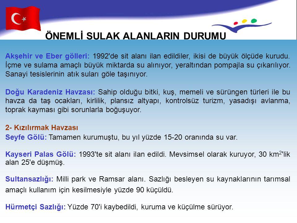 ÖNEMLİ SULAK ALANLARIN DURUMU Akşehir ve Eber gölleri: 1992'de sit alanı ilan edildiler, ikisi de büyük ölçüde kurudu. İçme ve sulama amaçlı büyük mik