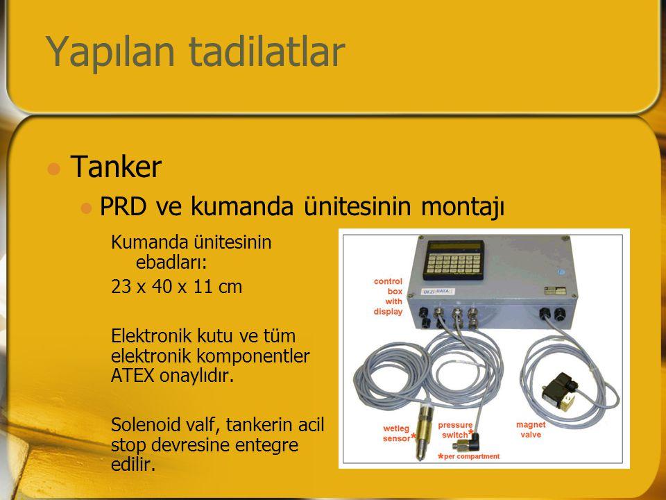 Yapılan tadilatlar  Tanker  PRD ve kumanda ünitesinin montajı Kumanda ünitesinin ebadları: 23 x 40 x 11 cm Elektronik kutu ve tüm elektronik komponentler ATEX onaylıdır.