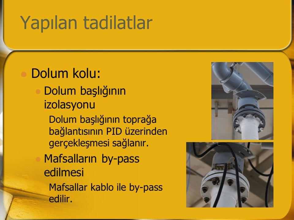 Yapılan tadilatlar  Dolum kolu:  Dolum başlığının izolasyonu Dolum başlığının toprağa bağlantısının PID üzerinden gerçekleşmesi sağlanır.