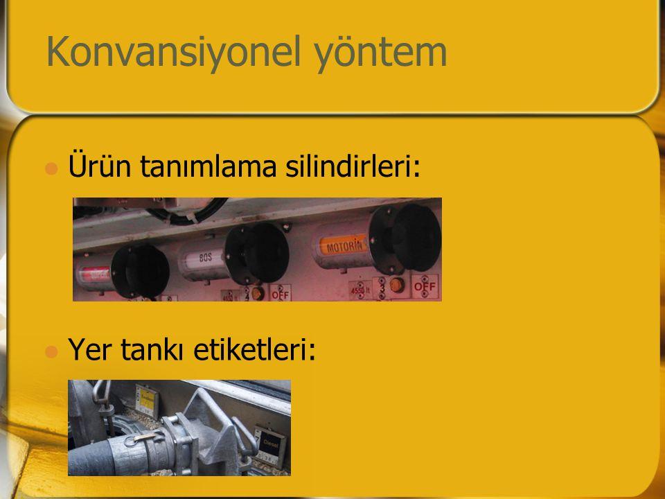 Konvansiyonel yöntem  Ürün tanımlama silindirleri:  Yer tankı etiketleri: