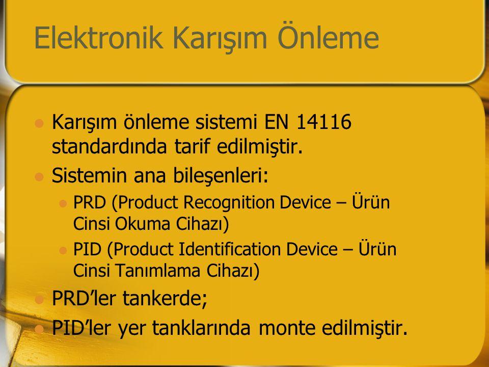 Elektronik Karışım Önleme  Karışım önleme sistemi EN 14116 standardında tarif edilmiştir.  Sistemin ana bileşenleri:  PRD (Product Recognition Devi