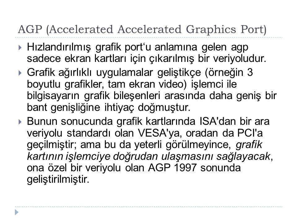  Hızlandırılmış grafik port'u anlamına gelen agp sadece ekran kartları için çıkarılmış bir veriyoludur.  Grafik ağırlıklı uygulamalar geliştikçe (ör