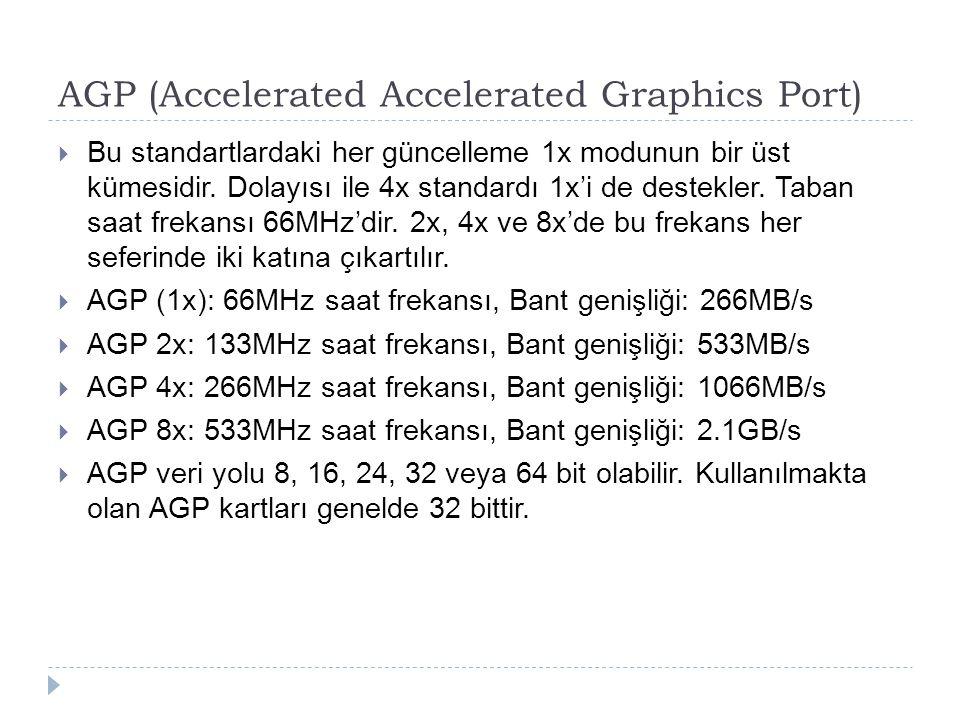 AGP (Accelerated Accelerated Graphics Port)  Bu standartlardaki her güncelleme 1x modunun bir üst kümesidir. Dolayısı ile 4x standardı 1x'i de destek