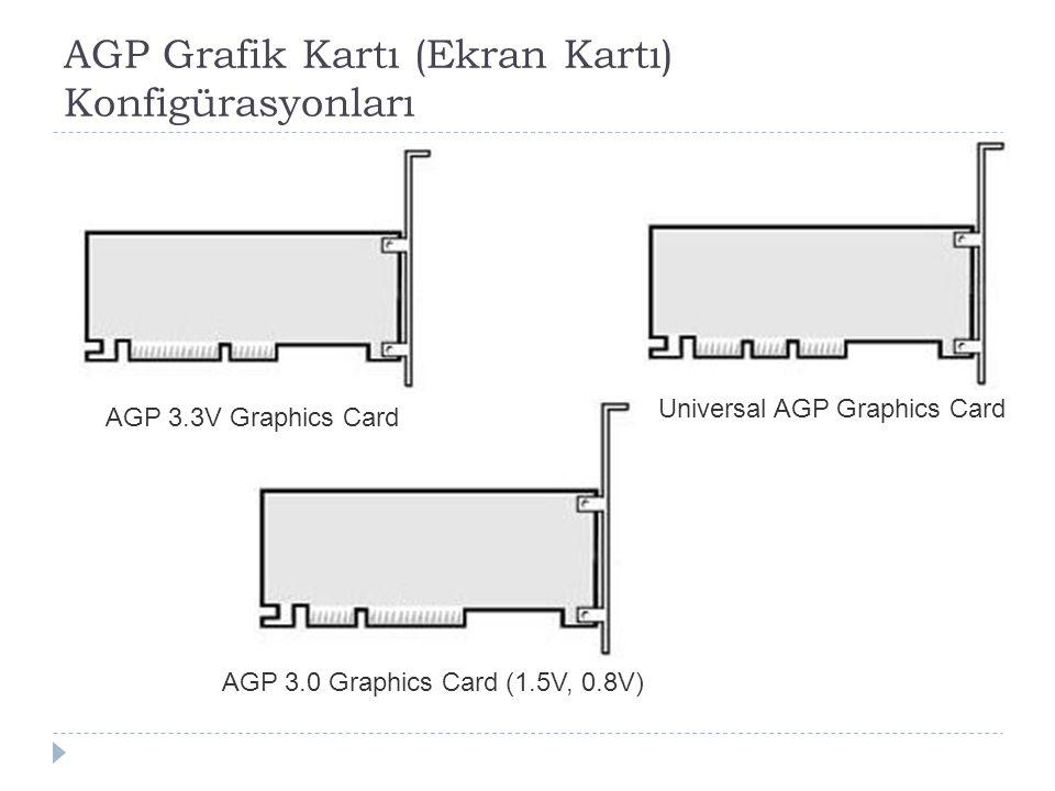 AGP Grafik Kartı (Ekran Kartı) Konfigürasyonları AGP 3.3V Graphics Card Universal AGP Graphics Card AGP 3.0 Graphics Card (1.5V, 0.8V)