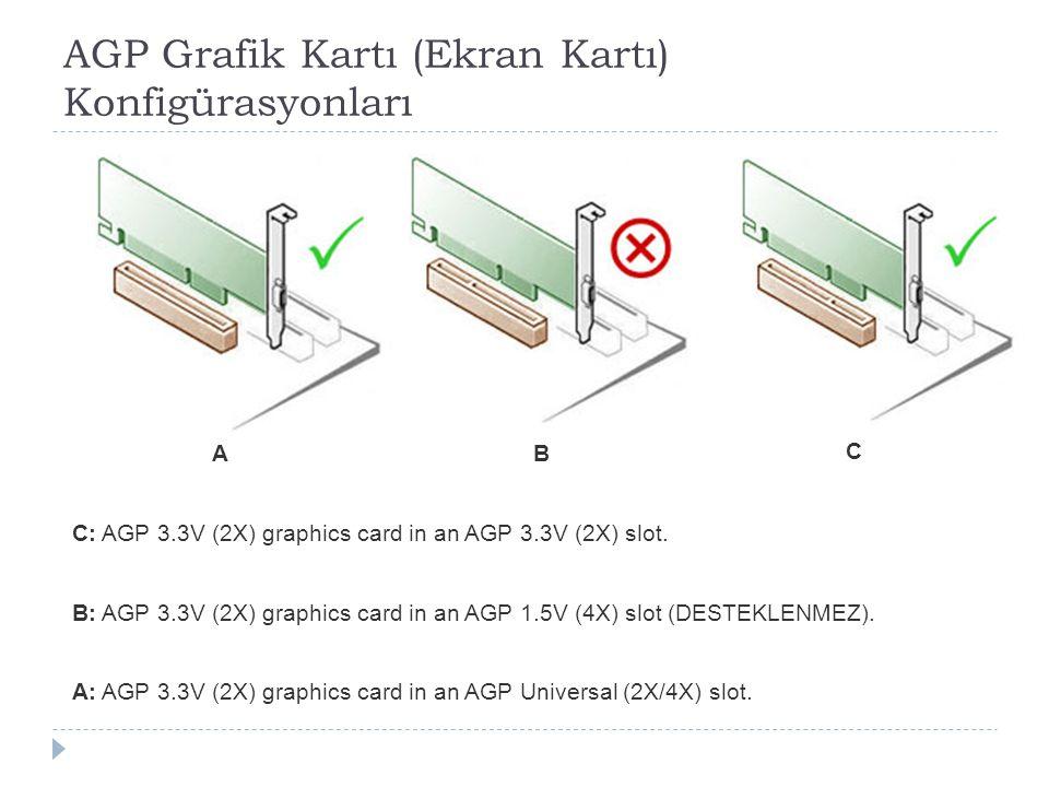 AGP Grafik Kartı (Ekran Kartı) Konfigürasyonları A: AGP 3.3V (2X) graphics card in an AGP Universal (2X/4X) slot. B: AGP 3.3V (2X) graphics card in an