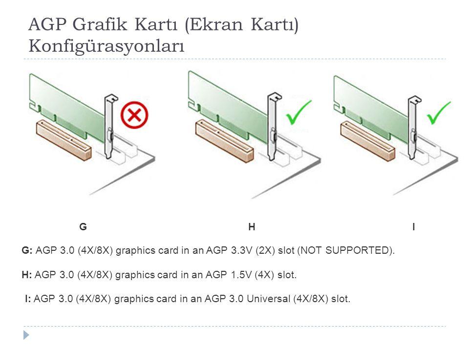 AGP Grafik Kartı (Ekran Kartı) Konfigürasyonları I: AGP 3.0 (4X/8X) graphics card in an AGP 3.0 Universal (4X/8X) slot. H: AGP 3.0 (4X/8X) graphics ca