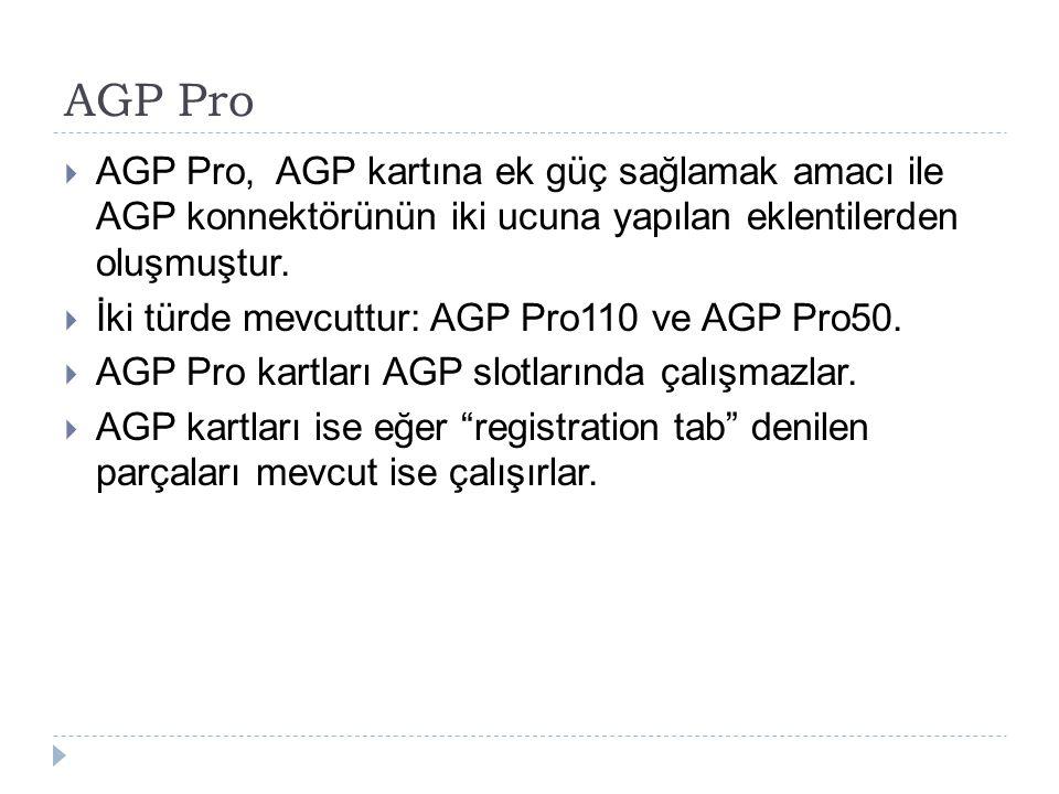 AGP Pro  AGP Pro, AGP kartına ek güç sağlamak amacı ile AGP konnektörünün iki ucuna yapılan eklentilerden oluşmuştur.  İki türde mevcuttur: AGP Pro1