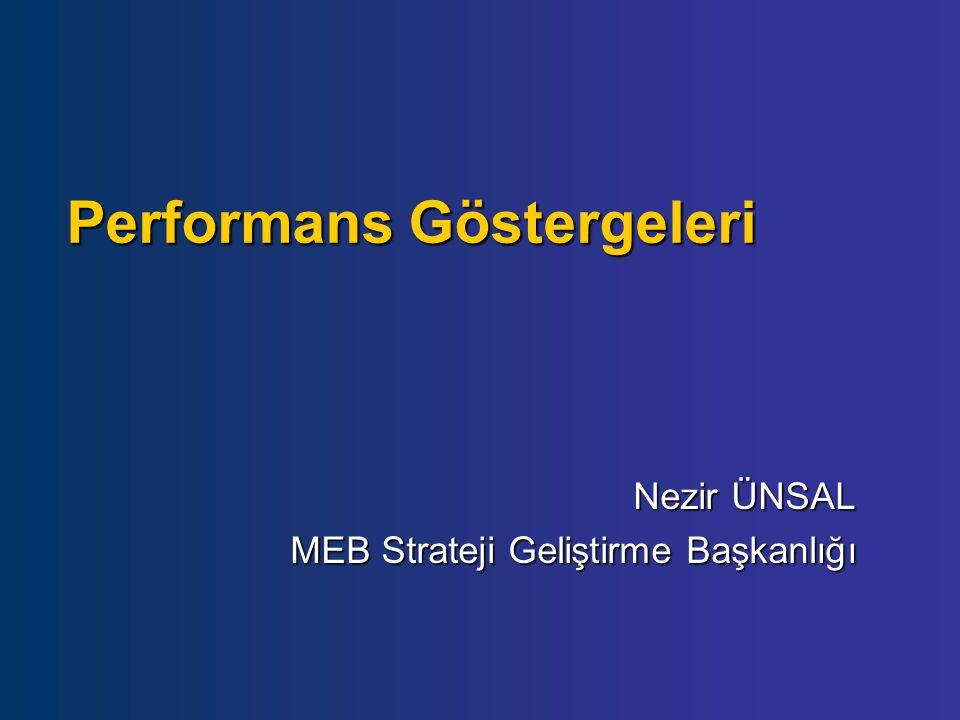 Performans Göstergeleri Nezir ÜNSAL MEB Strateji Geliştirme Başkanlığı