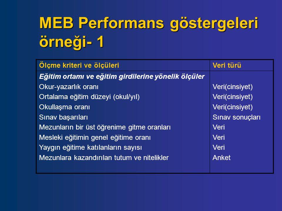 MEB Performans göstergeleri örneği- 1 Ölçme kriteri ve ölçüleriVeri türü Eğitim ortamı ve eğitim girdilerine yönelik ölçüler Okur-yazarlık oranı Ortal