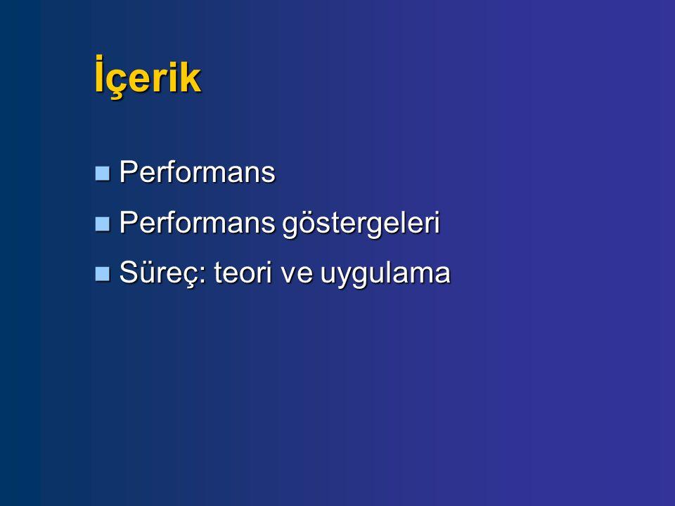 İçerik  Performans  Performans göstergeleri  Süreç: teori ve uygulama