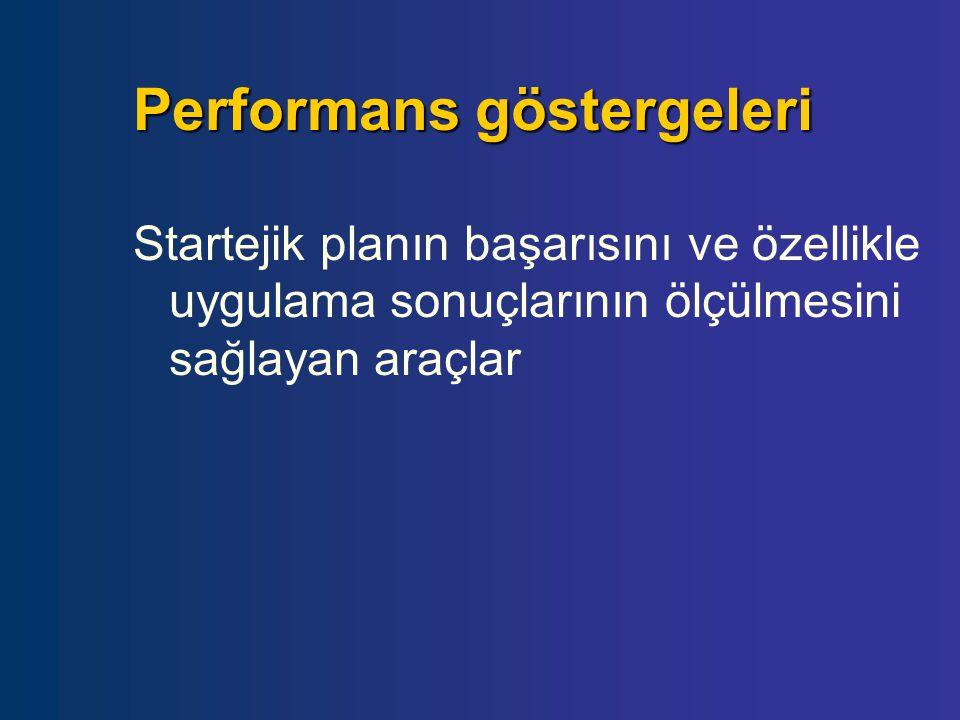 Performans göstergeleri Startejik planın başarısını ve özellikle uygulama sonuçlarının ölçülmesini sağlayan araçlar