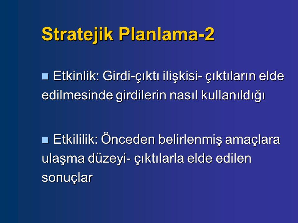 Stratejik Planlama-2  Etkinlik: Girdi-çıktı ilişkisi- çıktıların elde edilmesinde girdilerin nasıl kullanıldığı  Etkililik: Önceden belirlenmiş amaç