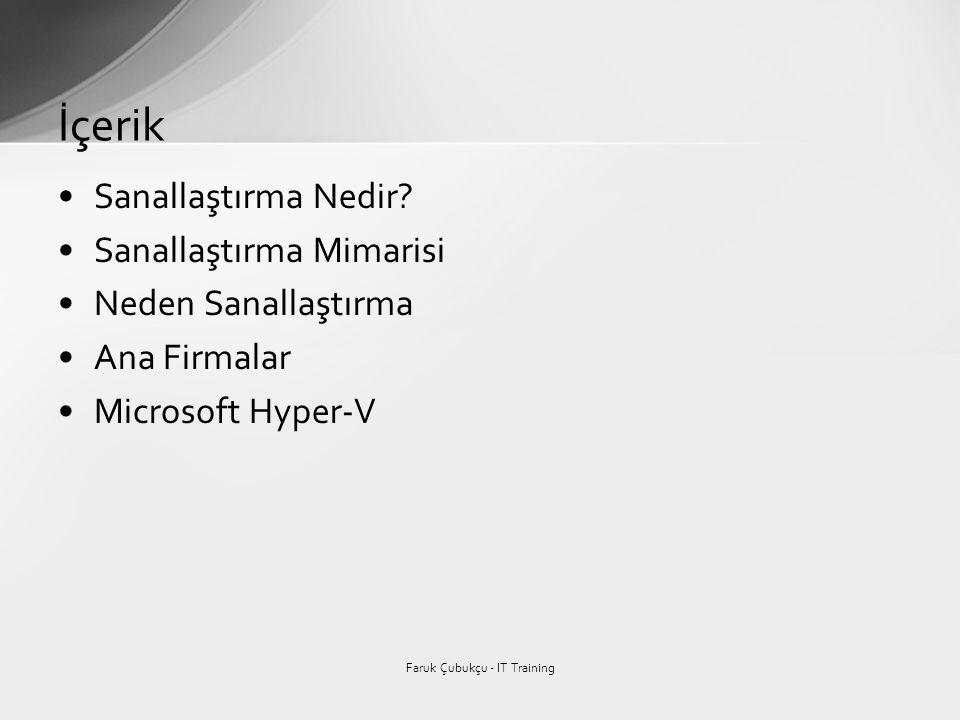 •Sanallaştırma Nedir? •Sanallaştırma Mimarisi •Neden Sanallaştırma •Ana Firmalar •Microsoft Hyper-V İçerik Faruk Çubukçu - IT Training