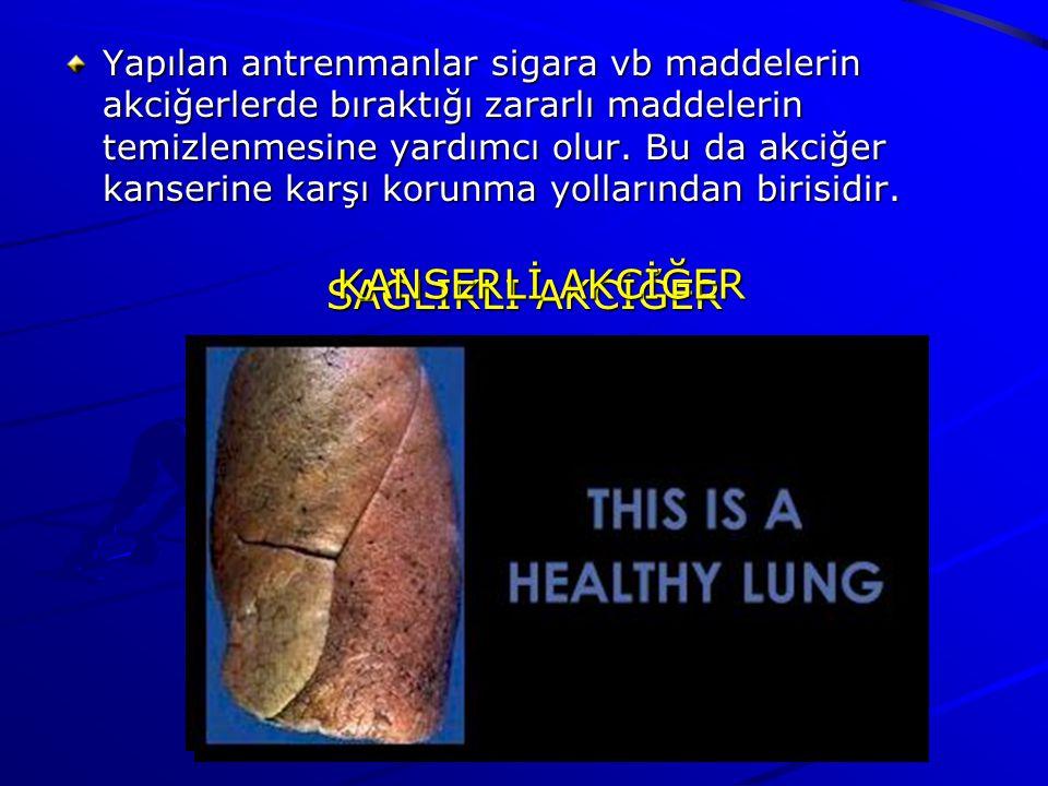 Yapılan antrenmanlar sigara vb maddelerin akciğerlerde bıraktığı zararlı maddelerin temizlenmesine yardımcı olur.