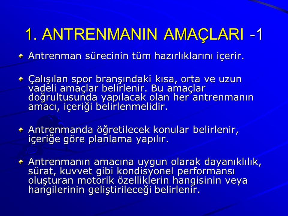 1.ANTRENMANIN AMAÇLARI -1 Antrenman sürecinin tüm hazırlıklarını içerir.