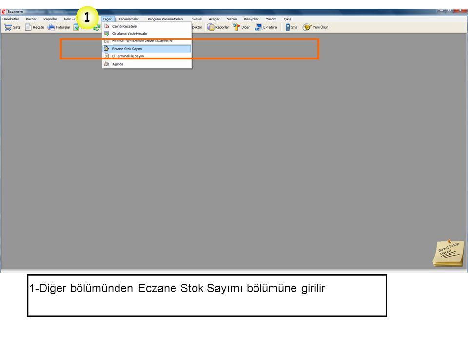 1- Stok Raporları içerisinden Ürün raporu 2- Ürün Raporları için gerekli olan Parametreler penceresi 3- Takibi Zorunlu İlaçlar Kutucuğu 4- Liste butonu ile listelenmesi sağlanır.