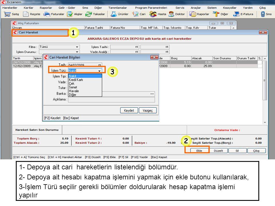 1- Depoya ait cari hareketlerin listelendiği bölümdür. 2- Depoya ait hesabı kapatma işlemini yapmak için ekle butonu kullanılarak, 3-İşlem Türü seçili