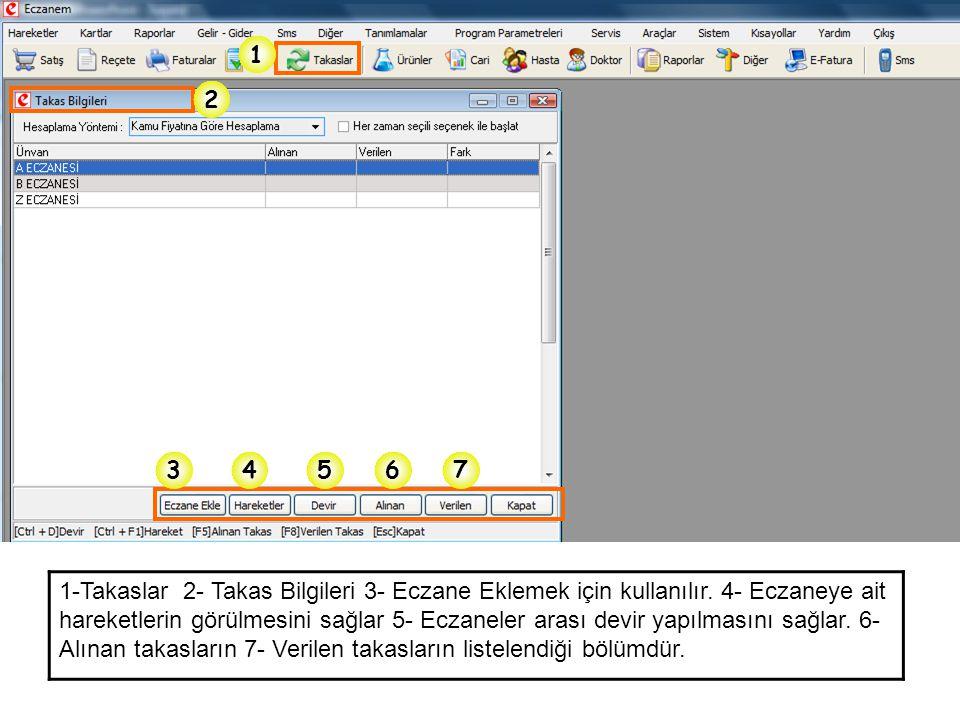 1 534 2 67 1-Takaslar 2- Takas Bilgileri 3- Eczane Eklemek için kullanılır. 4- Eczaneye ait hareketlerin görülmesini sağlar 5- Eczaneler arası devir y