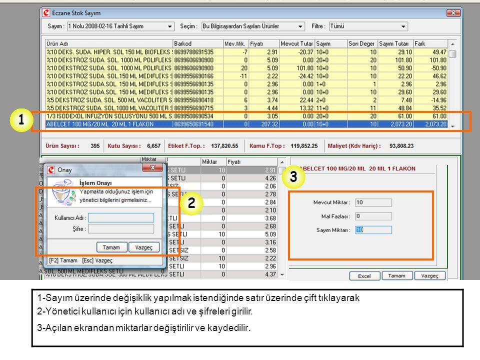 1 2 3 1-Sayım üzerinde değişiklik yapılmak istendiğinde satır üzerinde çift tıklayarak 2-Yönetici kullanıcı için kullanıcı adı ve şifreleri girilir. 3