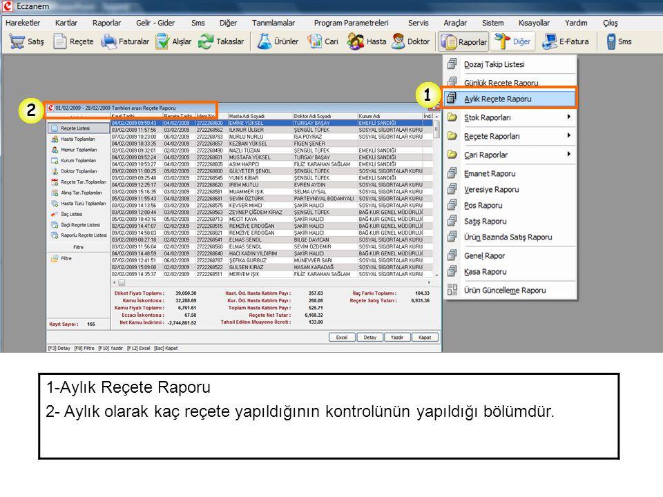 1-Aylık Reçete Raporu 2- Aylık olarak kaç reçete yapıldığının kontrolünün yapıldığı bölümdür. 1 2