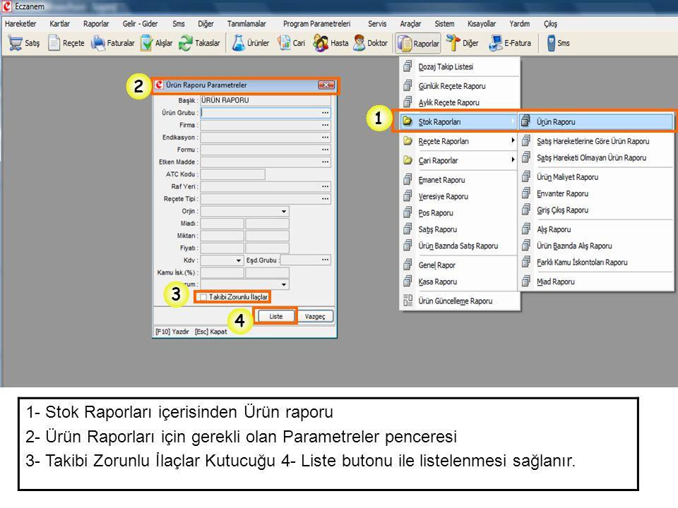 1- Stok Raporları içerisinden Ürün raporu 2- Ürün Raporları için gerekli olan Parametreler penceresi 3- Takibi Zorunlu İlaçlar Kutucuğu 4- Liste buton