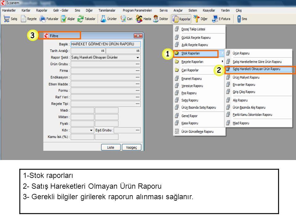 1 2 3 1-Stok raporları 2- Satış Hareketleri Olmayan Ürün Raporu 3- Gerekli bilgiler girilerek raporun alınması sağlanır.
