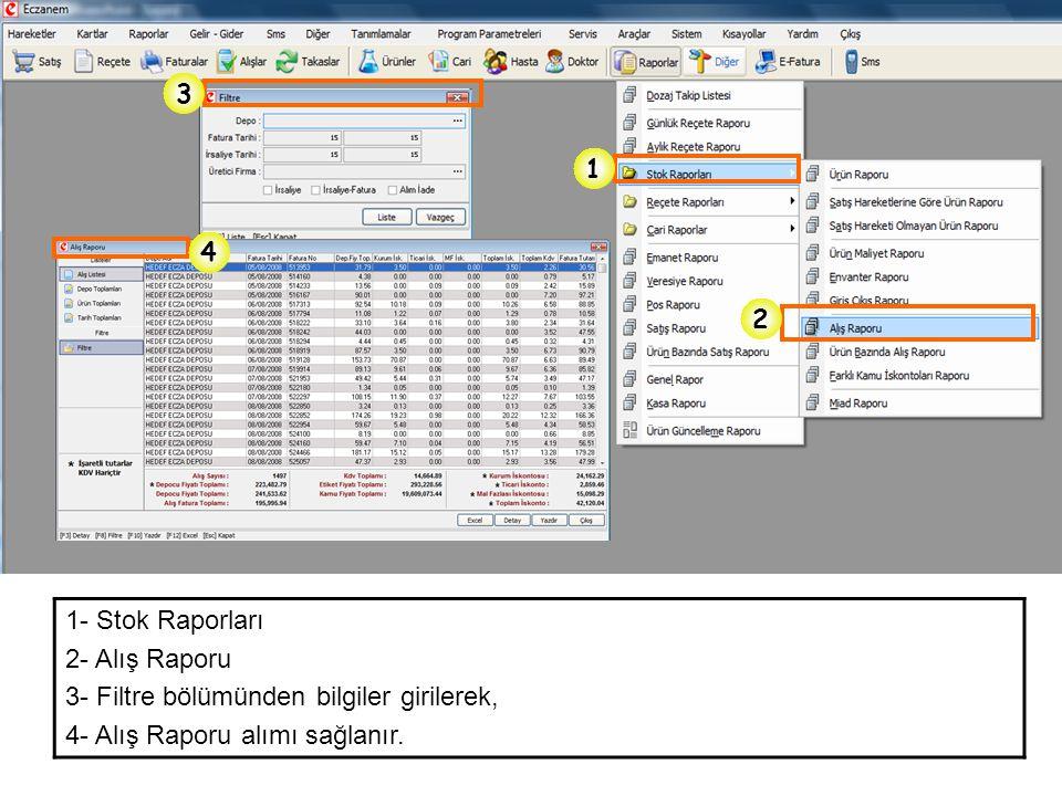 1 2 3 4 1- Stok Raporları 2- Alış Raporu 3- Filtre bölümünden bilgiler girilerek, 4- Alış Raporu alımı sağlanır.