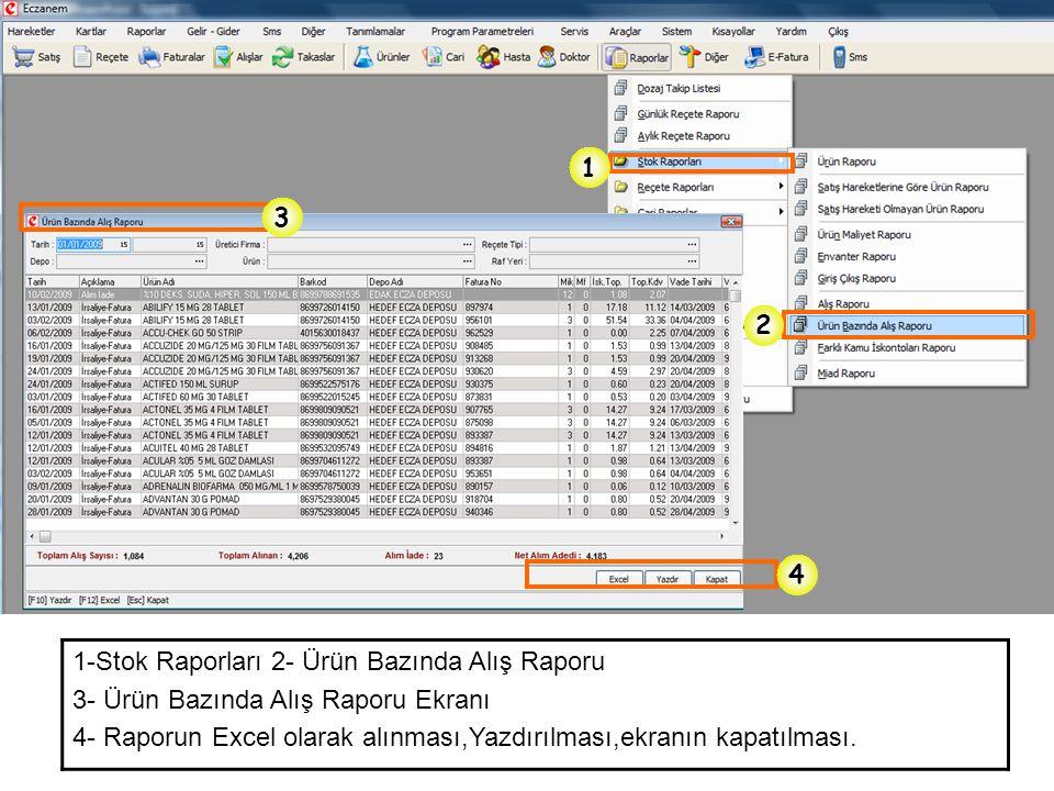 1-Stok Raporları 2- Ürün Bazında Alış Raporu 3- Ürün Bazında Alış Raporu Ekranı 4- Raporun Excel olarak alınması,Yazdırılması,ekranın kapatılması. 1 2