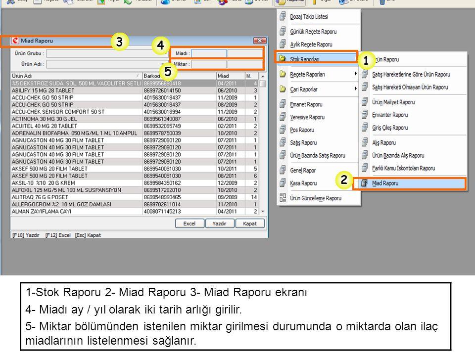 1-Stok Raporu 2- Miad Raporu 3- Miad Raporu ekranı 4- Miadı ay / yıl olarak iki tarih arlığı girilir. 5- Miktar bölümünden istenilen miktar girilmesi