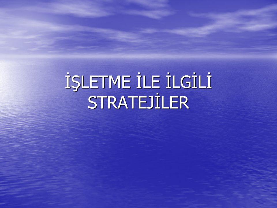 • Düşük Maliyet Stratejisi • Farklılaşma Stratejisi • Odaklaşma Stratejisi • Pazarda İlk Olma Stratejisi • Lidere Meydan Okuma Stratejisi • Lideri Takip Etme Stratejisi • Pazar Boşluklarını Belirleyip Doldurma Stratejisi • Nadasa Bırakma Stratejisi • Çekilme Stratejisi • Küçülme Stratejisi