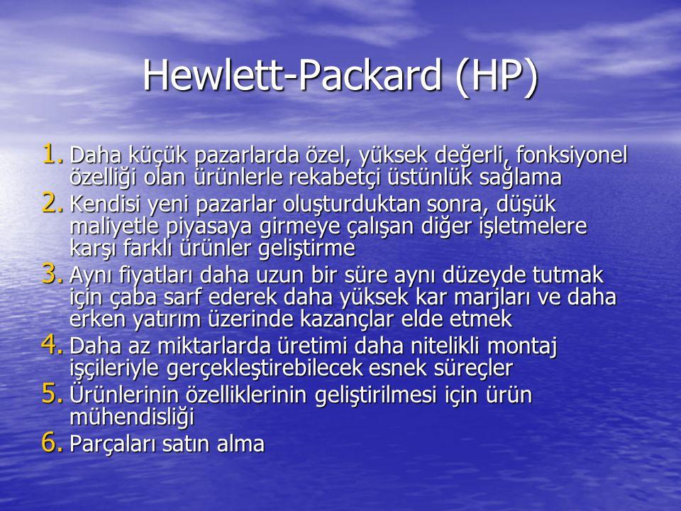Hewlett-Packard (HP) 1. Daha küçük pazarlarda özel, yüksek değerli, fonksiyonel özelliği olan ürünlerle rekabetçi üstünlük sağlama 2. Kendisi yeni paz