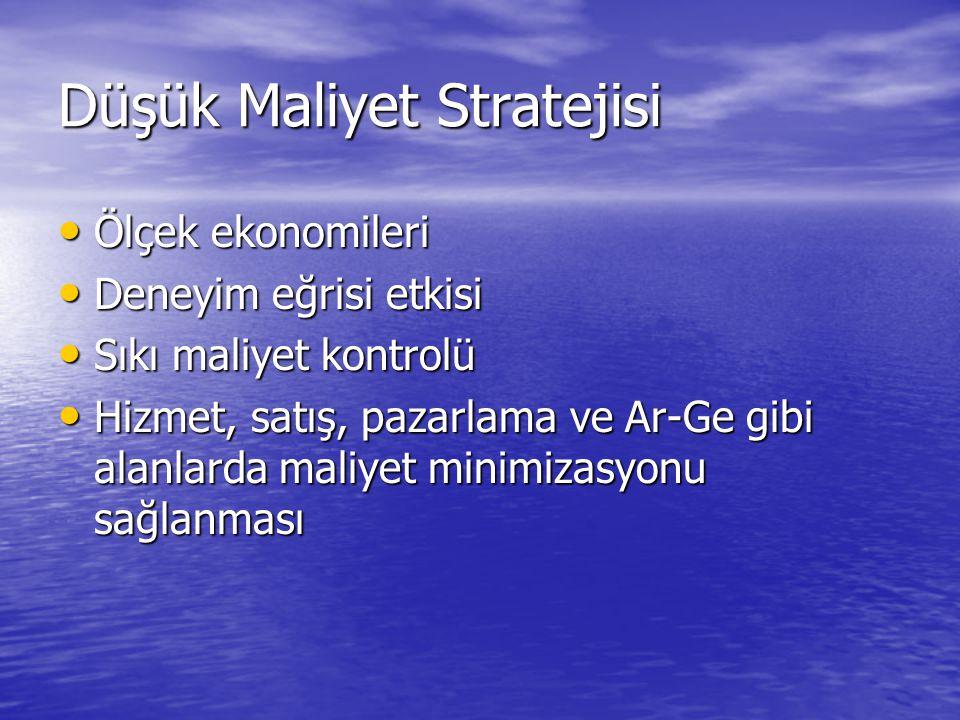 Düşük Maliyet Stratejisi • Ölçek ekonomileri • Deneyim eğrisi etkisi • Sıkı maliyet kontrolü • Hizmet, satış, pazarlama ve Ar-Ge gibi alanlarda maliye