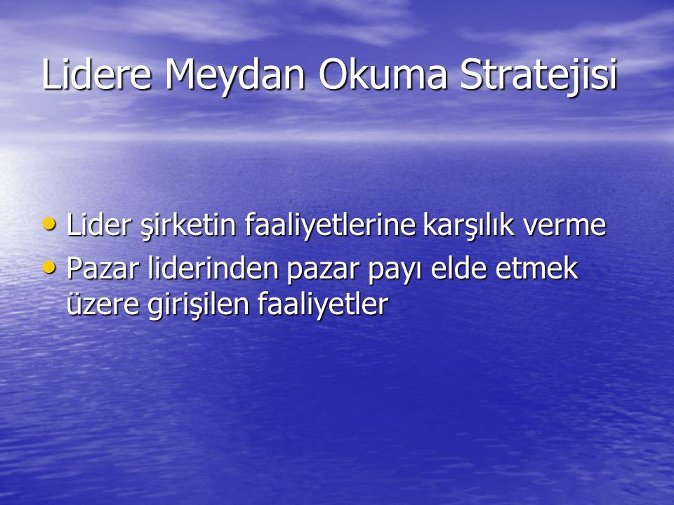 Lidere Meydan Okuma Stratejisi • Lider şirketin faaliyetlerine karşılık verme • Pazar liderinden pazar payı elde etmek üzere girişilen faaliyetler