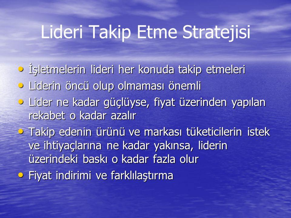 Lideri Takip Etme Stratejisi • İşletmelerin lideri her konuda takip etmeleri • Liderin öncü olup olmaması önemli • Lider ne kadar güçlüyse, fiyat üzer
