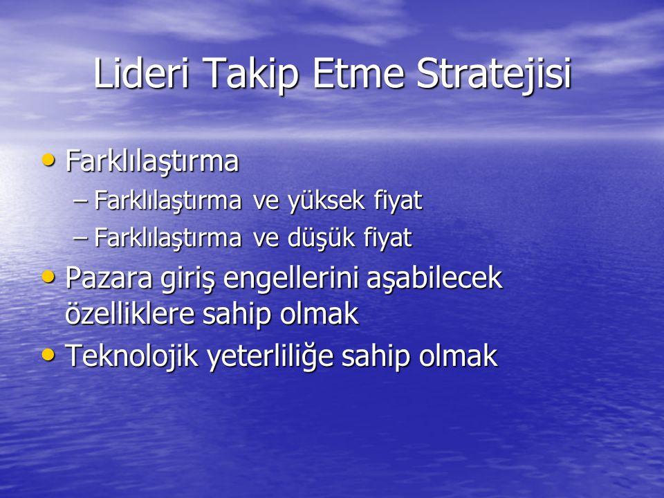 Lideri Takip Etme Stratejisi • Farklılaştırma –Farklılaştırma ve yüksek fiyat –Farklılaştırma ve düşük fiyat • Pazara giriş engellerini aşabilecek öze