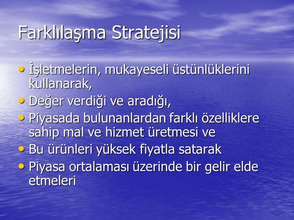 Farklılaşma Stratejisi • İşletmelerin, mukayeseli üstünlüklerini kullanarak, • Değer verdiği ve aradığı, • Piyasada bulunanlardan farklı özelliklere s