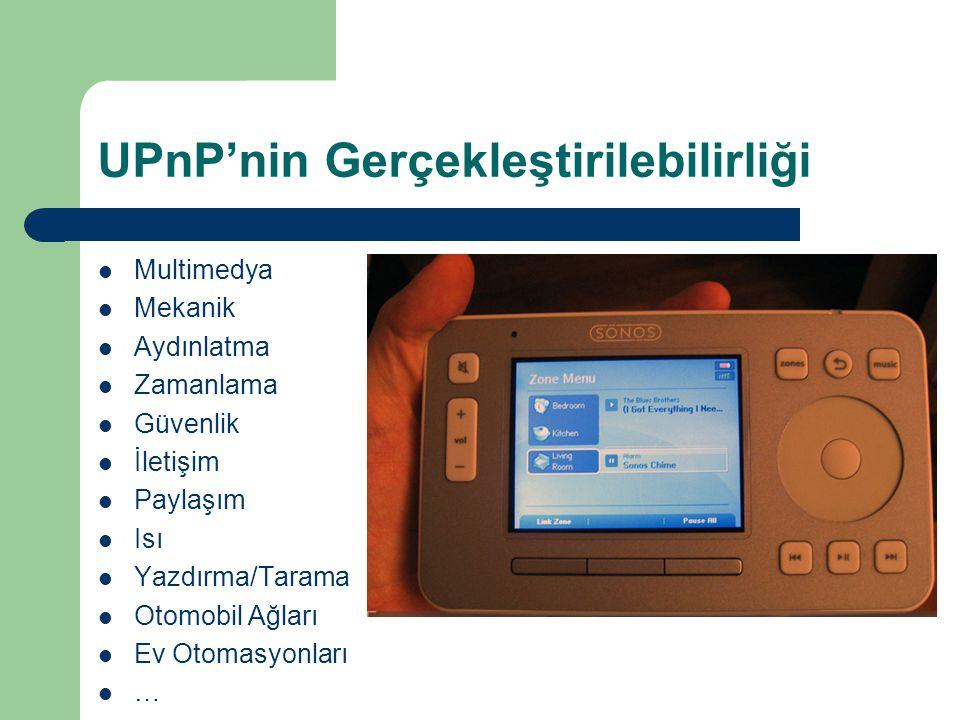 UPnP'nin Gerçekleştirilebilirliği  Multimedya  Mekanik  Aydınlatma  Zamanlama  Güvenlik  İletişim  Paylaşım  Isı  Yazdırma/Tarama  Otomobil