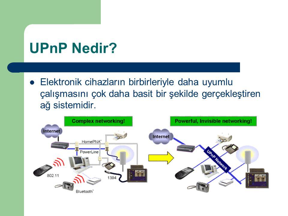 UPnP Nedir?  Elektronik cihazların birbirleriyle daha uyumlu çalışmasını çok daha basit bir şekilde gerçekleştiren ağ sistemidir.