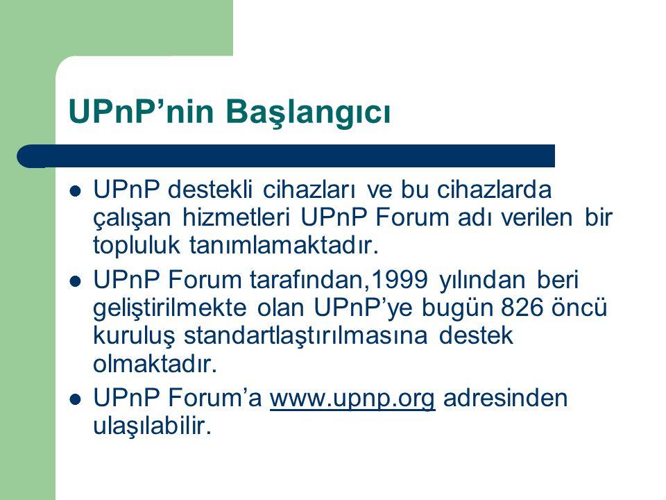 UPnP'nin Başlangıcı  UPnP destekli cihazları ve bu cihazlarda çalışan hizmetleri UPnP Forum adı verilen bir topluluk tanımlamaktadır.  UPnP Forum ta