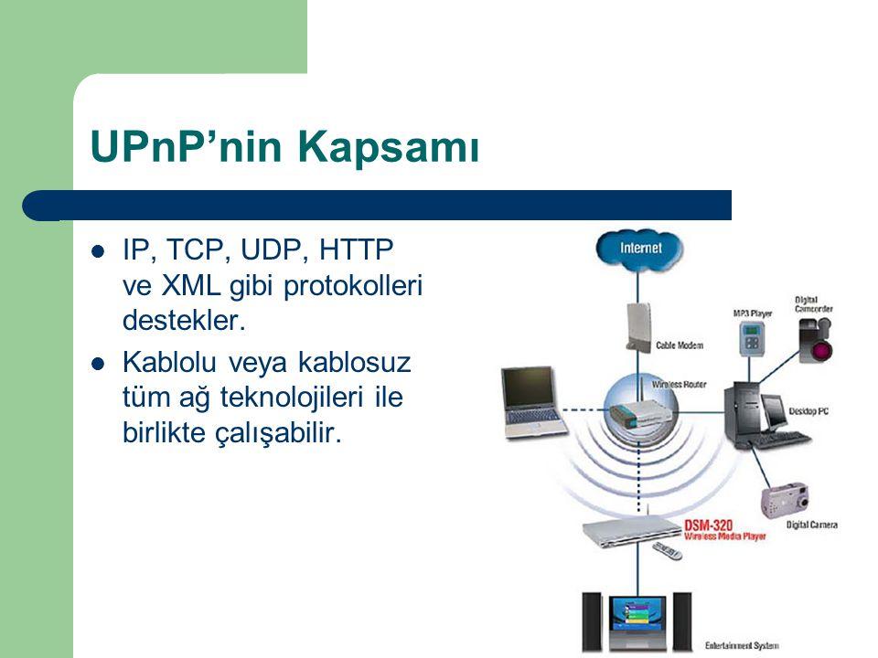 UPnP'nin Kapsamı  IP, TCP, UDP, HTTP ve XML gibi protokolleri destekler.  Kablolu veya kablosuz tüm ağ teknolojileri ile birlikte çalışabilir.