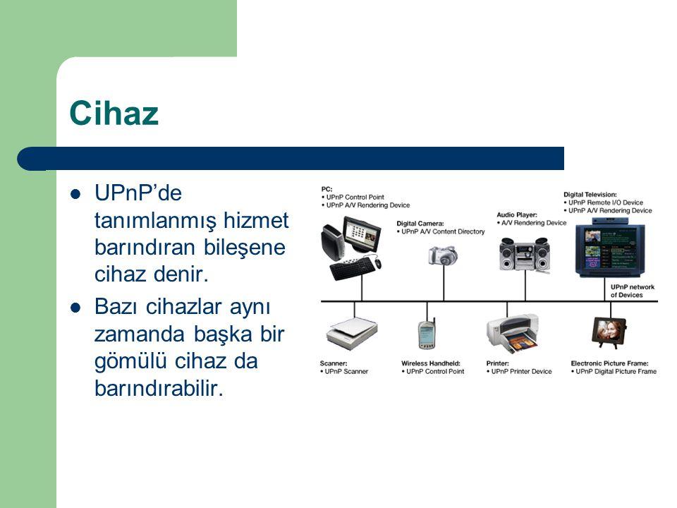 Cihaz  UPnP'de tanımlanmış hizmet barındıran bileşene cihaz denir.  Bazı cihazlar aynı zamanda başka bir gömülü cihaz da barındırabilir.