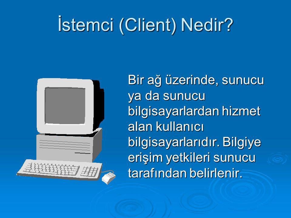 İstemci (Client) Nedir? Bir ağ üzerinde, sunucu ya da sunucu bilgisayarlardan hizmet alan kullanıcı bilgisayarlarıdır. Bilgiye erişim yetkileri sunucu