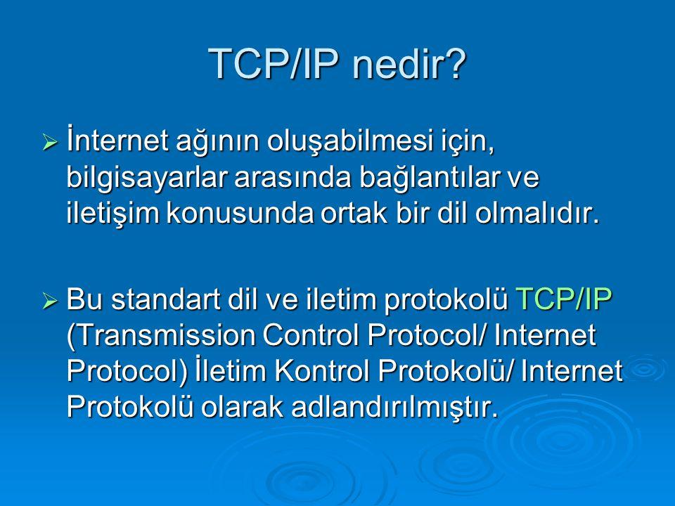 TCP/IP nedir?  İnternet ağının oluşabilmesi için, bilgisayarlar arasında bağlantılar ve iletişim konusunda ortak bir dil olmalıdır.  Bu standart dil
