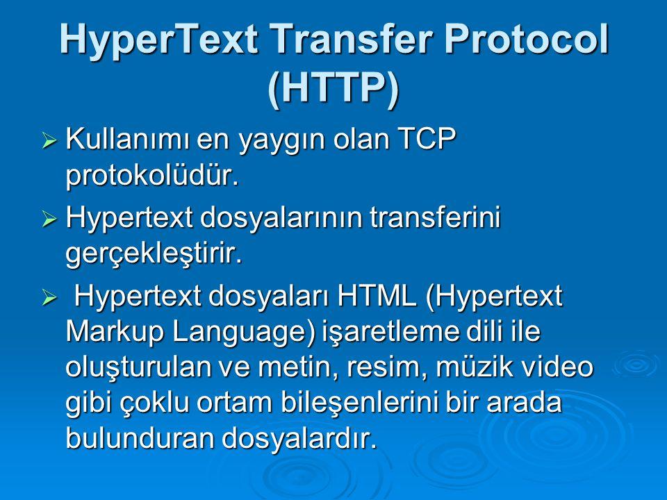 HyperText Transfer Protocol (HTTP)  Kullanımı en yaygın olan TCP protokolüdür.  Hypertext dosyalarının transferini gerçekleştirir.  Hypertext dosya